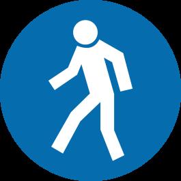 """Skridsikker gulv-piktogrammer: """"Kun for gående"""""""