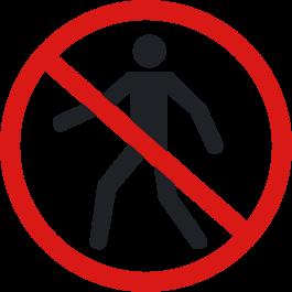 """Skridsikker gulv-piktogrammer: """"Ingen adgang for gående"""""""