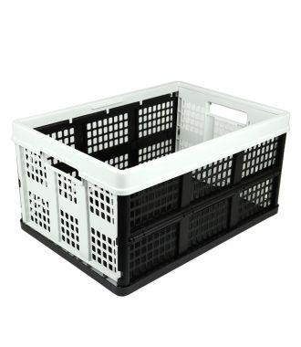 Sammenklappelig kasse - 46 liter - lysegrå og sort
