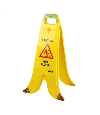 Foldbart bananformet A-skilt til våde gulve