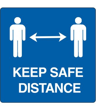 "Gulv-piktogram for ""Keep safe distance"""