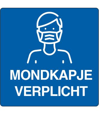 "Floor pictogram for ""Mouth Cap Required"" Dutch"
