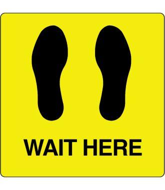"""Gulv-piktogram for """"Wait Here"""""""