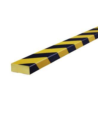 Knuffi stødfanger til flade overflader, type D - gul/sort - 5 meter