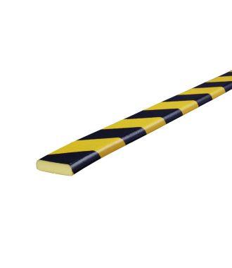 Knuffi stødfanger til flade overflader, type F - gul/sort - 5 meter