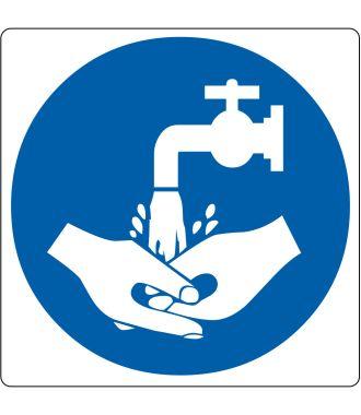 """Gulv-piktogram for """"Krævet håndvask"""""""